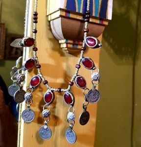 Jewelry - Red glass coin Afghan tribal necklace